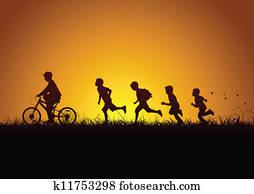 natur, und, kindern