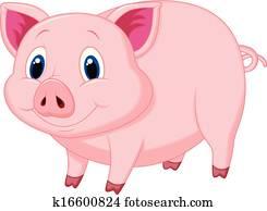 niedlich, schwein, karikatur