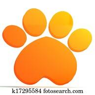 Paw print orange icon logo