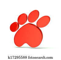 Paw print red icon logo