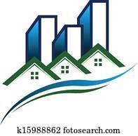 real estate, gemeinschaft, logo, vektor