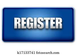 Register 3D Blue Button on White Background