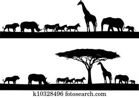 safari, tier, silhouette