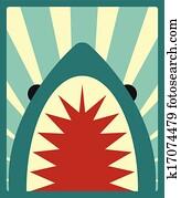 Shark poster, vector illustration