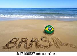 Soccer ball with Brazilian flag and word