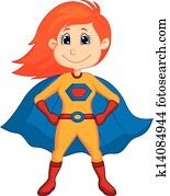 Superhero kid cartoon
