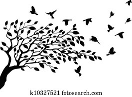 Tree and bird silhouette