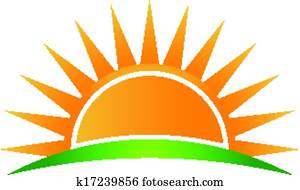 Clipart of Sunshine over water waves. k24355031 - Search ...