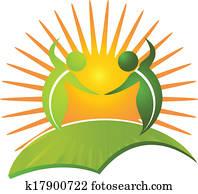 vektor, von, gesund, leben, natur, logo