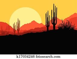 wüste, wildes, naturquerformat, mit, kaktus, und, palme, betriebe, abbildung, hintergrund, vektor