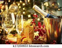 weihnachten neues jahr, feiertag, tisch, setting., feier