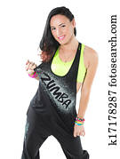 Young woman dancing zumba isolated on white background. Happy cheerful female enjoying fitness dance.