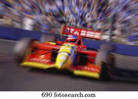 Formula racing car at speed