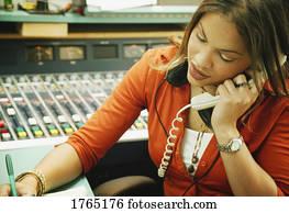 frau, reden, telefon