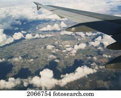 bild, von, vancouver, in, winterbilder, genommen, von, motorflugzeug