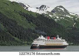 Disney Cruise Lines ship Wonder leaving Juneau, Gastineau Channel, Southeast Alaska