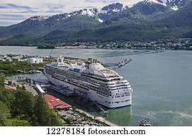Princess Cruises Coral Princess moored at the docks at Juneau, Gastineau Channel, Southeast Alaska