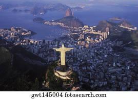Aerial view of a statue, Christ the Redeemer Statue, Rio De Janeiro, Brazil