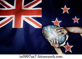 neuseeland markierungsfahne, und, welt, rugby ball