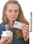 Carte Assurance Maladie Femme.Tenue Femme A Assurance Maladie Carte Et A 10 Euro
