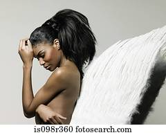 junge frau, tragen, engelsflügel