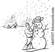 building a snowman b&w