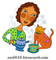 girl pouring tea with kitty