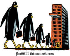 penguins walking towards the computer tower