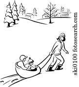 sledding b&w