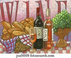 wine, bread, and grapes