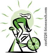 woman on a stationary bike
