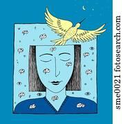 woman's imagination taking flight