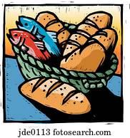 bread, und, fische
