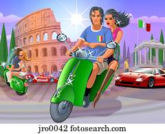 riding a moped in italy