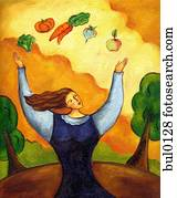 A woman juggling broccoli, tomato, carrot, turnip, and an apple