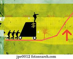 Businessmen pushing a man on a cart up a growth chart