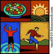 Montage of a salad, a sun, a person running and a person exercising