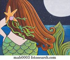 The back of a mermaid looking at the ocean and moon