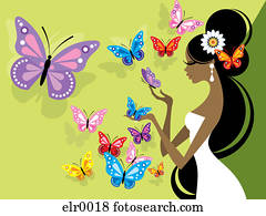 An illustration of a bride surrounded by butterflies