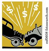 An illustration of a car accident and resulting in dollar signs