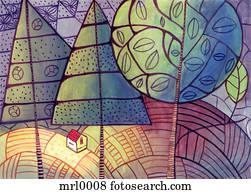 A house among trees and farm land