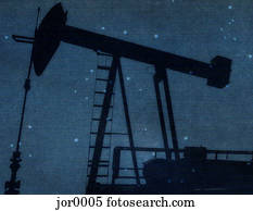 a silhouette of a oil rig