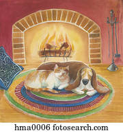 cat and dog sleeping by the fire