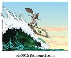 businessman surfing on a dollar surf board