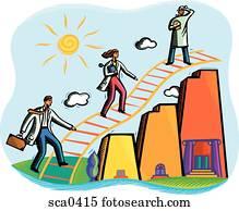 Doctors climbing a ladder