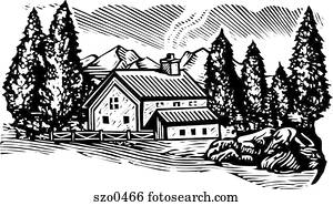 cabin in the woods b/w