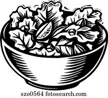 A picture of a bowl of salad in black and white