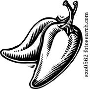 Two jalapeno peppers in black and white