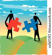 Two men holding puzzle pieces that can be fitted together