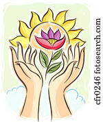 two hands holding lotus flower up to the sun